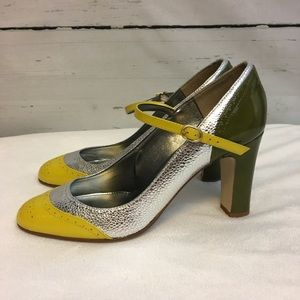 J. Crew Yellow Silver Green Penelope Mary Janes